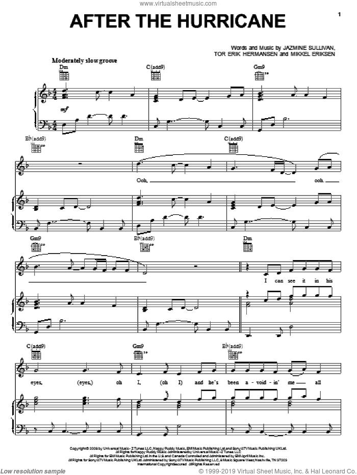 After The Hurricane sheet music for voice, piano or guitar by Jazmine Sullivan, Mikkel Eriksen and Tor Erik Hermansen, intermediate skill level
