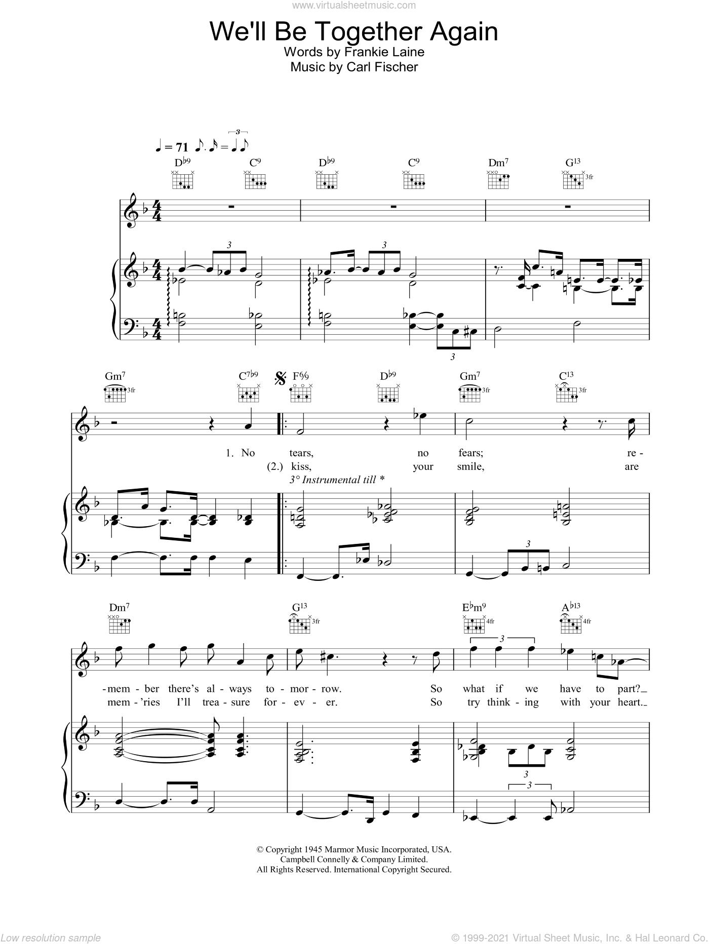 We'll Be Together Again sheet music for voice, piano or guitar by Rod Stewart, intermediate skill level