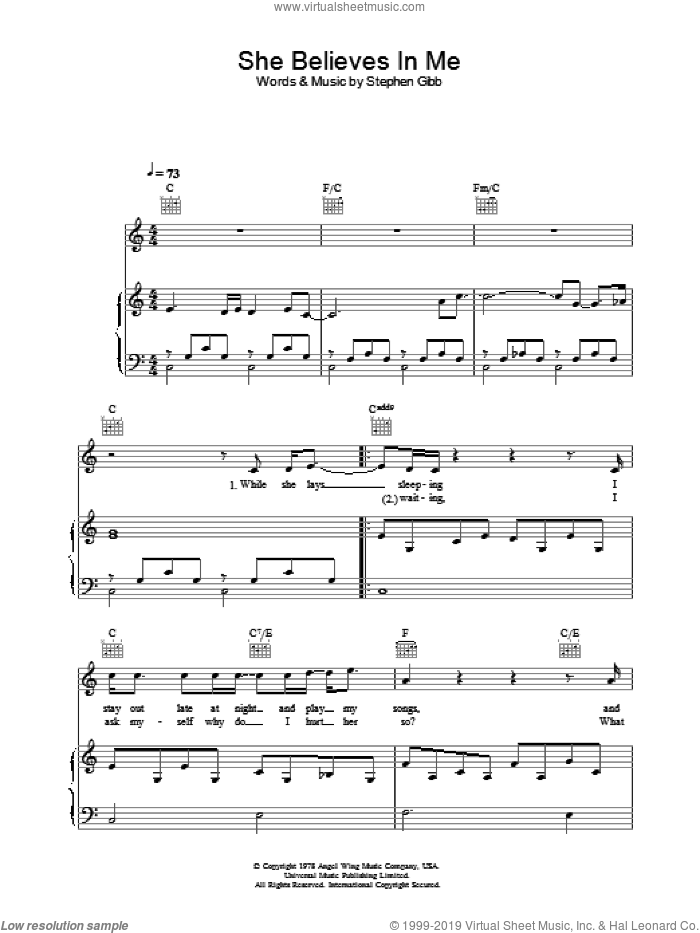 She Believes In Me sheet music for voice, piano or guitar by Ronan Keating, intermediate voice, piano or guitar. Score Image Preview.