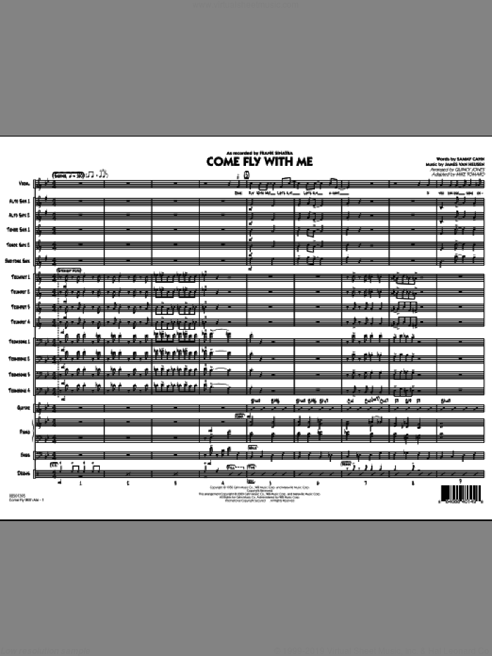 Come Fly With Me (COMPLETE) sheet music for jazz band by Sammy Cahn, Jimmy van Heusen, Frank Sinatra, Mike Tomaro and Quincy Jones, intermediate skill level