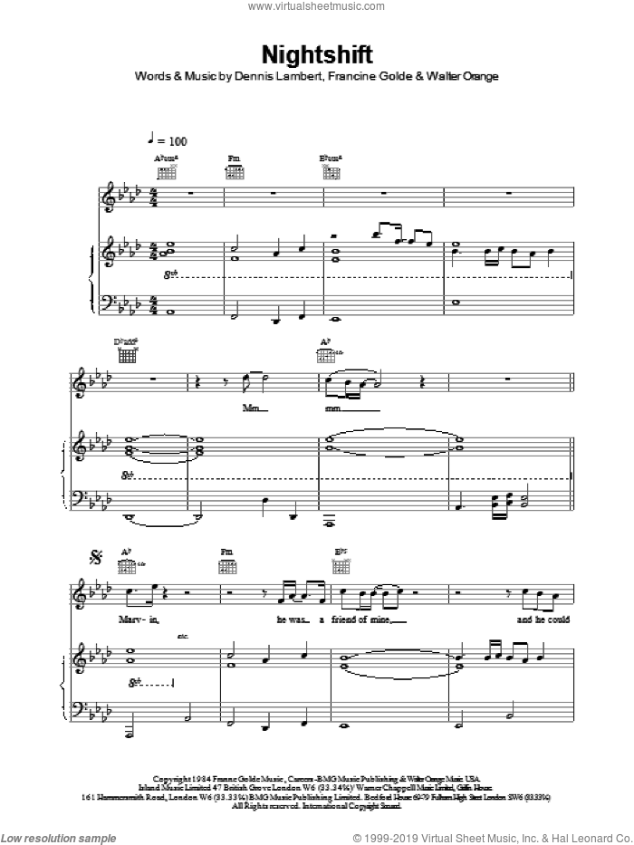 Nightshift sheet music for voice, piano or guitar by The Commodores. Score Image Preview.