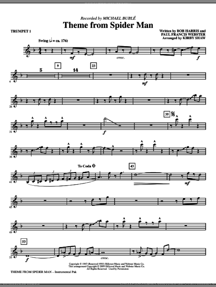 Theme from Spider Man sheet music for orchestra/band (trumpet 1) by Paul Francis Webster, Bob Harris, Kirby Shaw and Michael Buble, intermediate skill level