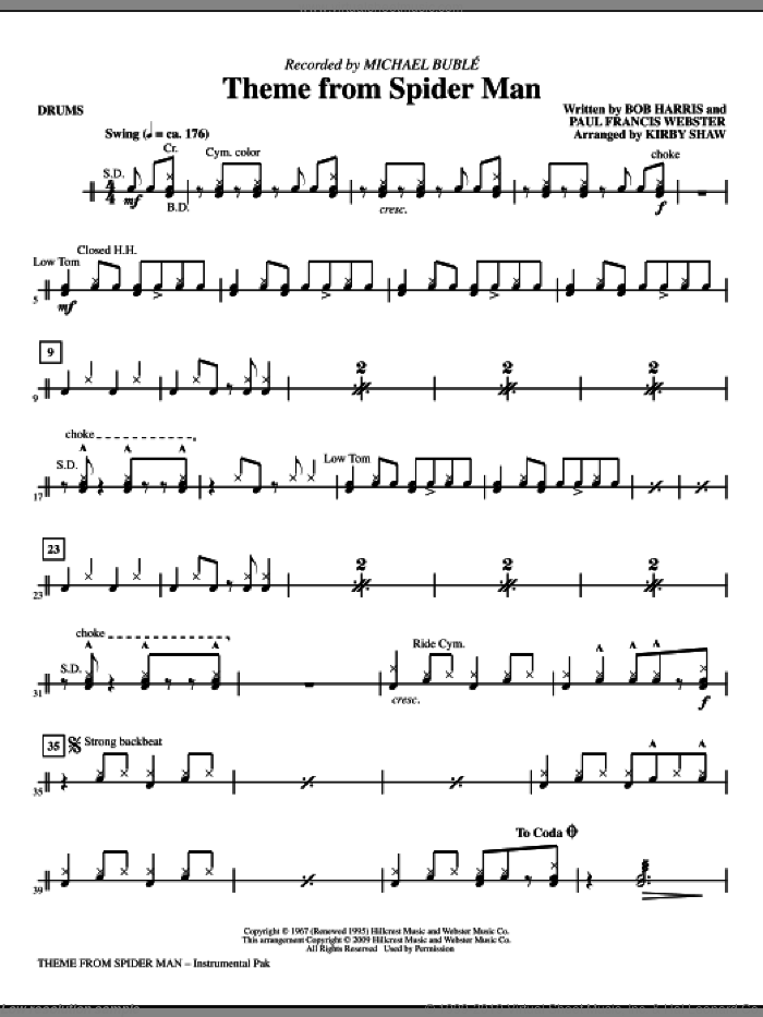 Theme from Spider Man sheet music for orchestra/band (drums) by Paul Francis Webster, Bob Harris, Kirby Shaw and Michael Buble, intermediate skill level