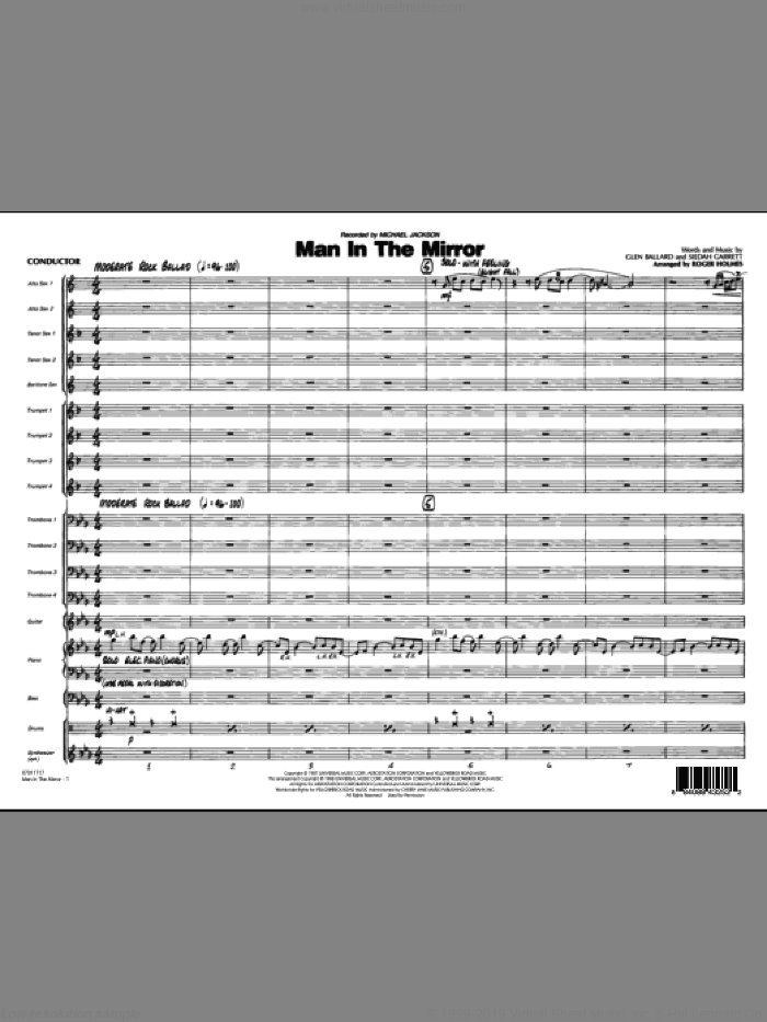 Man In The Mirror (COMPLETE) sheet music for jazz band by Glen Ballard, Michael Jackson, Siedah Garrett and Roger Holmes, intermediate. Score Image Preview.
