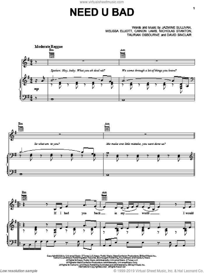 Need U Bad sheet music for voice, piano or guitar by Jazmine Sullivan, Cainon Lamb, David Sinclair, Melissa Elliott, Nicholas Stanton and Taurian Osbourne, intermediate skill level