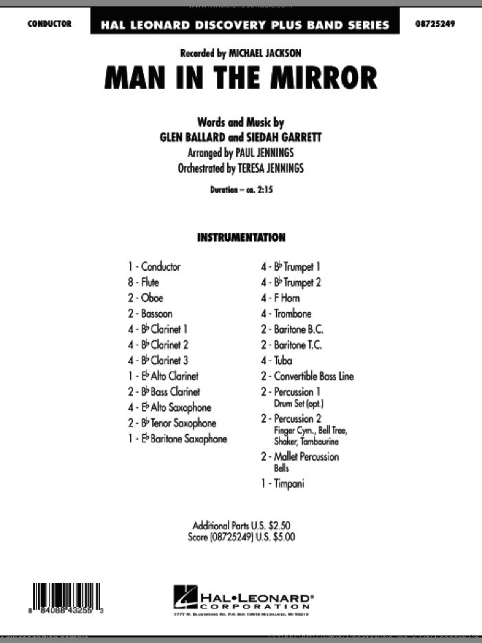 Man In The Mirror, complete set of parts sheet music for concert band (full score) by Glen Ballard