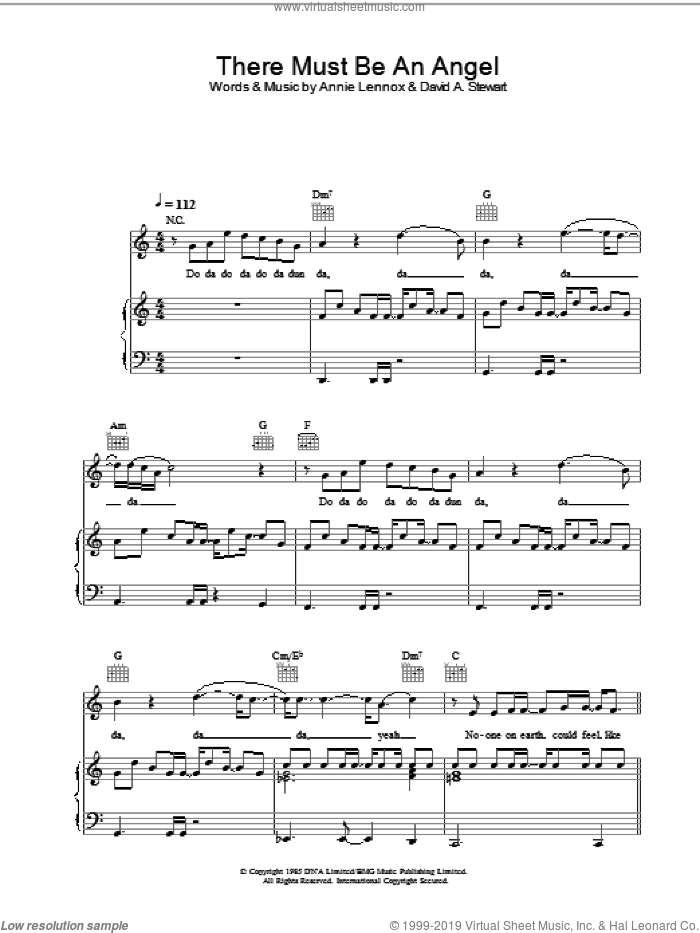 There Must Be An Angel sheet music for voice, piano or guitar by Eurythmics. Score Image Preview.