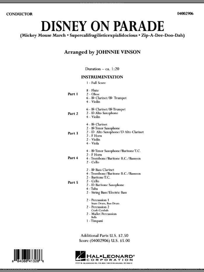 Disney on Parade (COMPLETE) sheet music for concert band by Johnnie Vinson, intermediate. Score Image Preview.