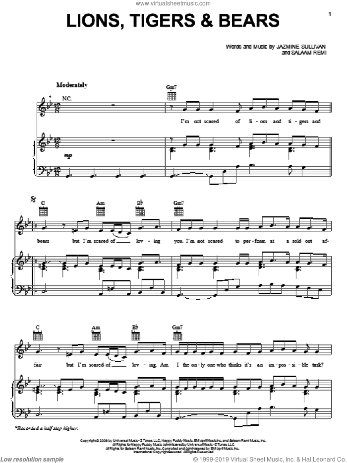 Lions, Tigers and Bears sheet music for voice, piano or guitar by Jazmine Sullivan and Salaam Remi, intermediate skill level