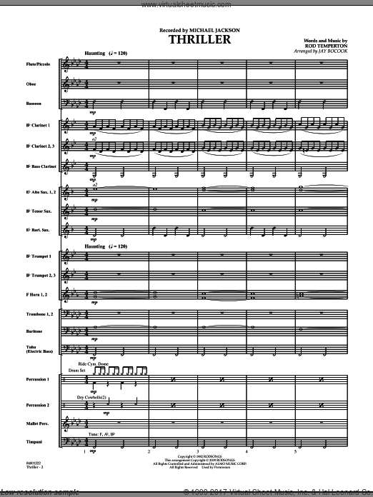 Thriller (COMPLETE) sheet music for concert band by Rod Temperton
