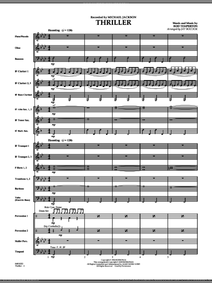 Thriller (COMPLETE) sheet music for concert band by Rod Temperton, Jay Bocook and Michael Jackson, intermediate. Score Image Preview.