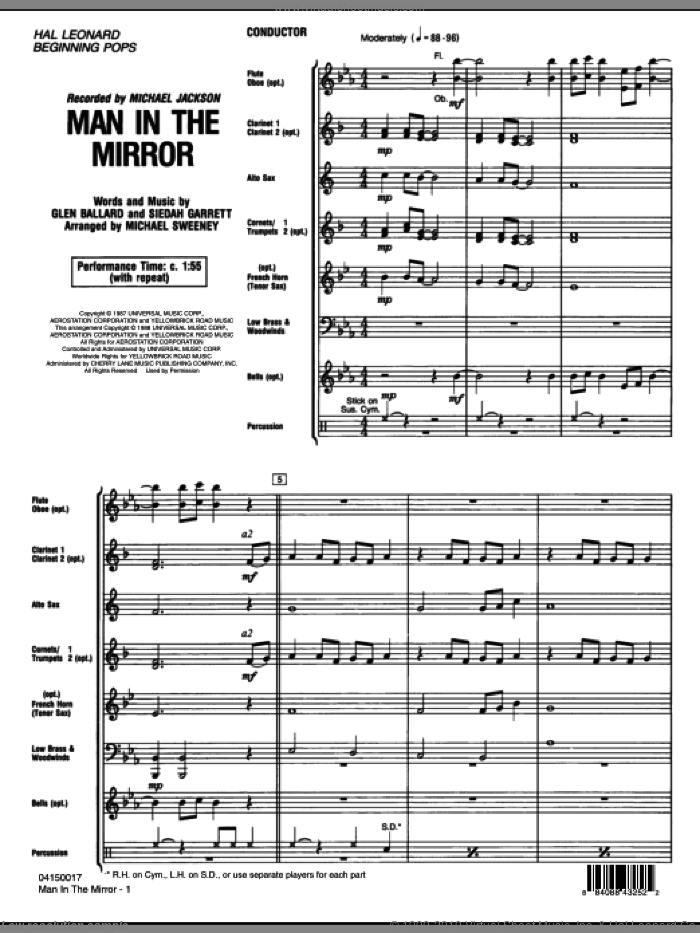 Man In The Mirror (COMPLETE) sheet music for concert band by Glen Ballard, Siedah Garrett, Michael Jackson and Michael Sweeney, intermediate. Score Image Preview.