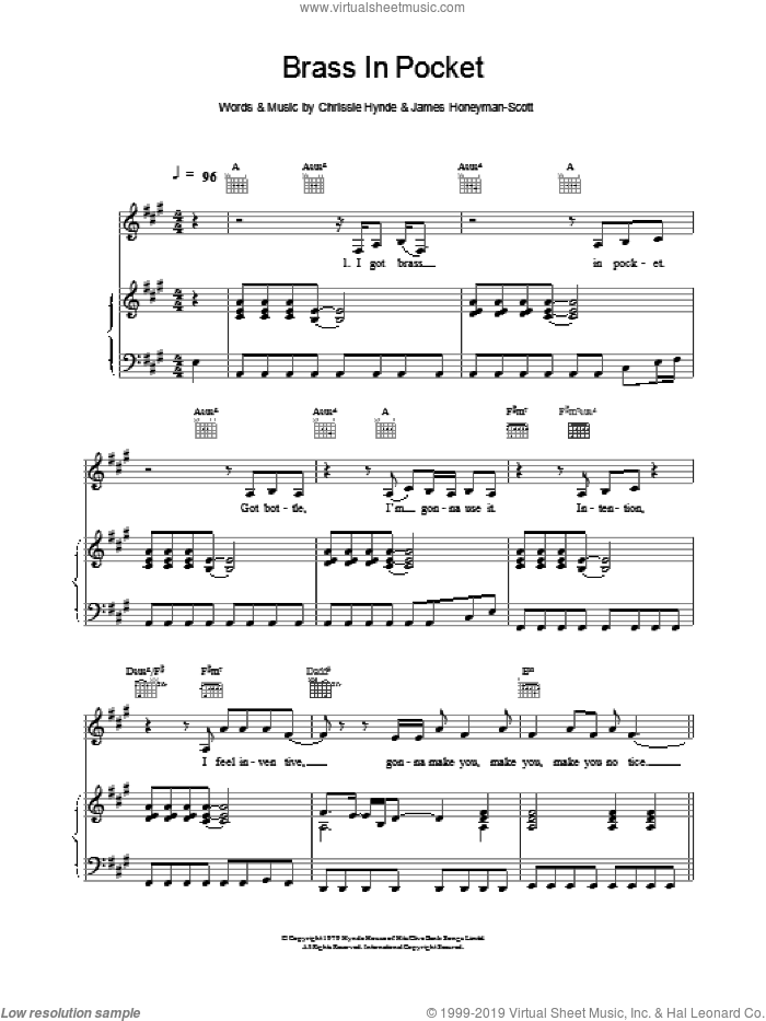 Brass In Pocket sheet music for voice, piano or guitar by The Pretenders. Score Image Preview.