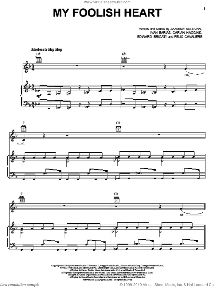 My Foolish Heart sheet music for voice, piano or guitar by Jazmine Sullivan, Carvin Haggins, Edward Brigati, Felix Cavaliere and Ivan Barias, intermediate skill level