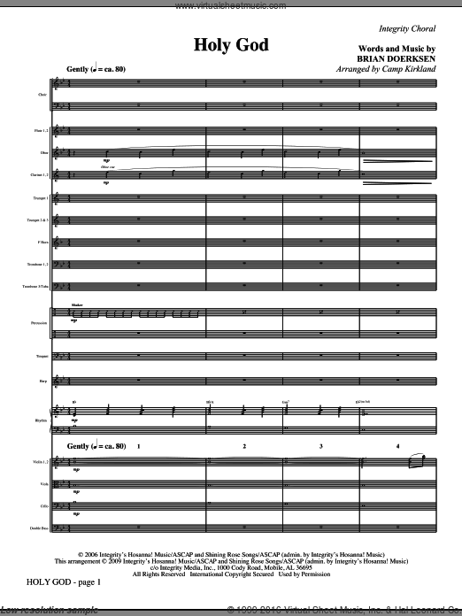 Holy God (COMPLETE) sheet music for orchestra by Brian Doerksen and Camp Kirkland. Score Image Preview.