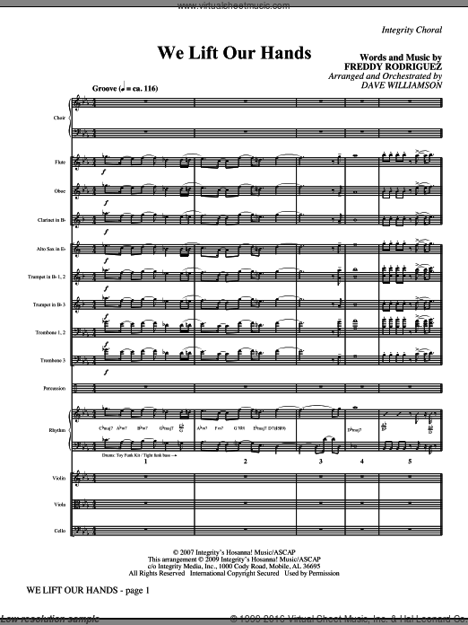 We Lift Our Hands (COMPLETE) sheet music for orchestra by Freddy Rodriguez and Dave Williamson. Score Image Preview.