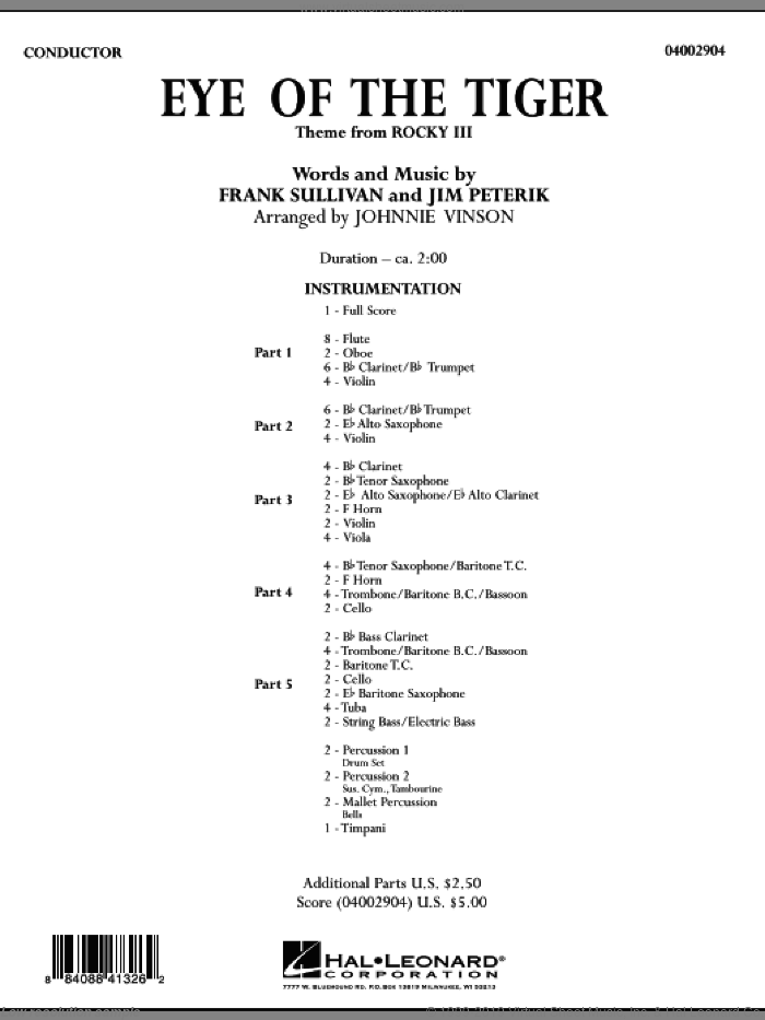 Eye Of The Tiger sheet music for concert band (full score) by Frank Sullivan