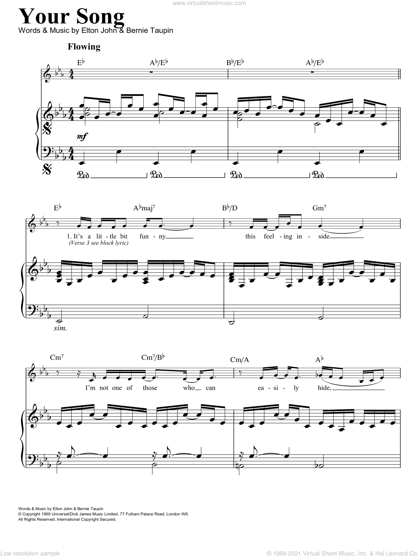 Your Song sheet music for voice, piano or guitar by Elton John. Score Image Preview.