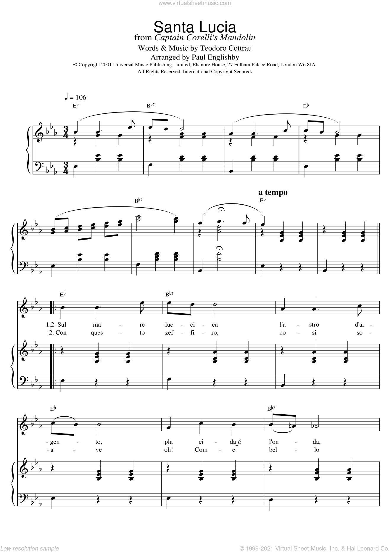 Santa Lucia sheet music for voice, piano or guitar by Teodoro Cottrau. Score Image Preview.