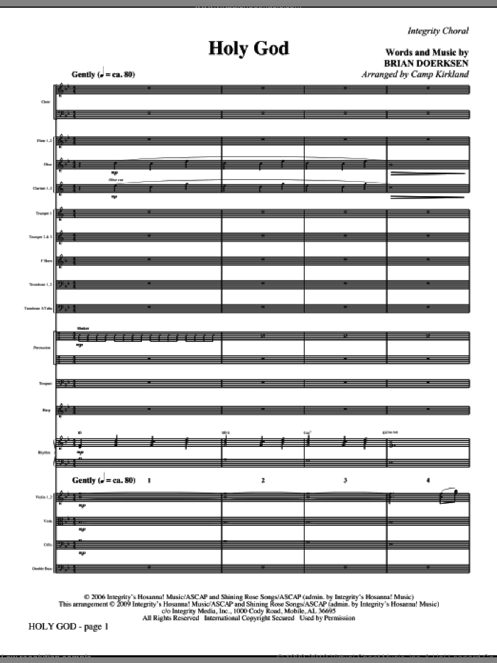 Holy God (COMPLETE) sheet music for orchestra/band (Orchestra) by Brian Doerksen and Camp Kirkland, intermediate skill level