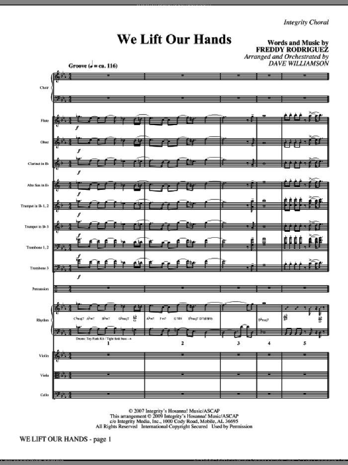 We Lift Our Hands (COMPLETE) sheet music for orchestra/band (Orchestra) by Dave Williamson and Freddy Rodriguez, intermediate skill level