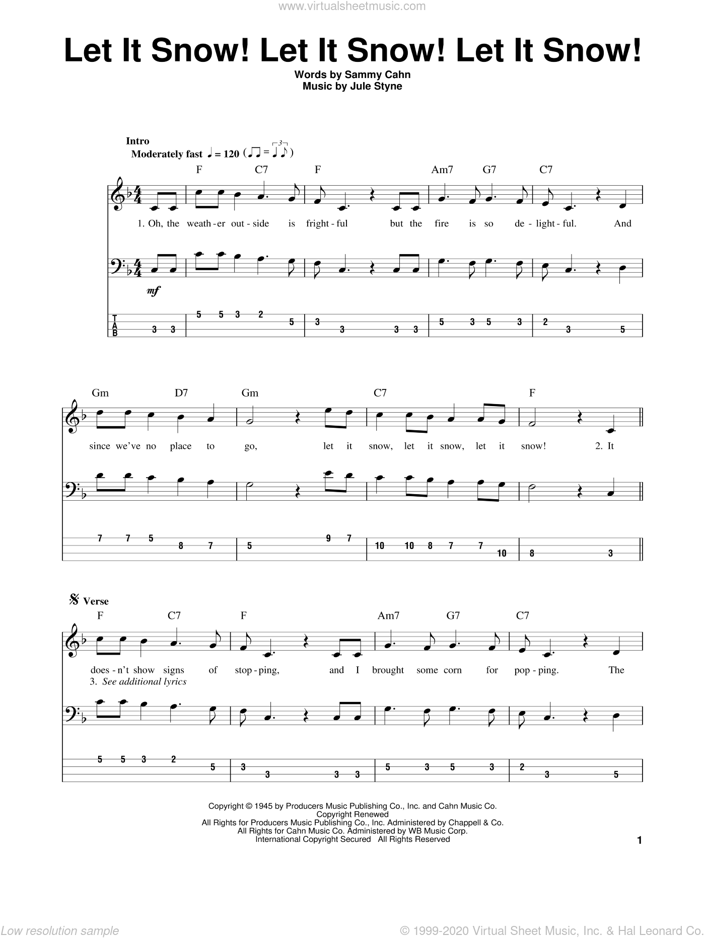 Let It Snow! Let It Snow! Let It Snow! sheet music for bass (tablature) (bass guitar) by Sammy Cahn and Jule Styne, intermediate skill level