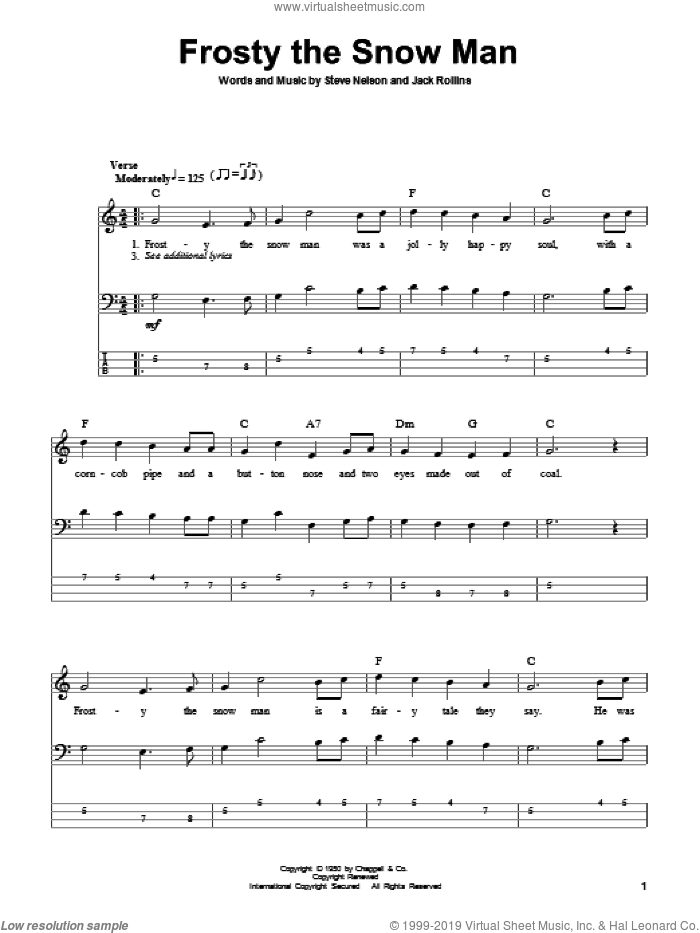 Frosty The Snow Man sheet music for bass (tablature) (bass guitar) by Gene Autry, Jack Rollins and Steve Nelson, intermediate skill level