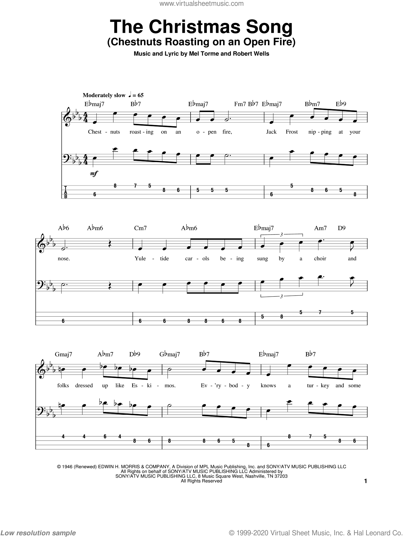 The Christmas Song (Chestnuts Roasting On An Open Fire) sheet music for bass (tablature) (bass guitar) by Mel Torme and Robert Wells. Score Image Preview.