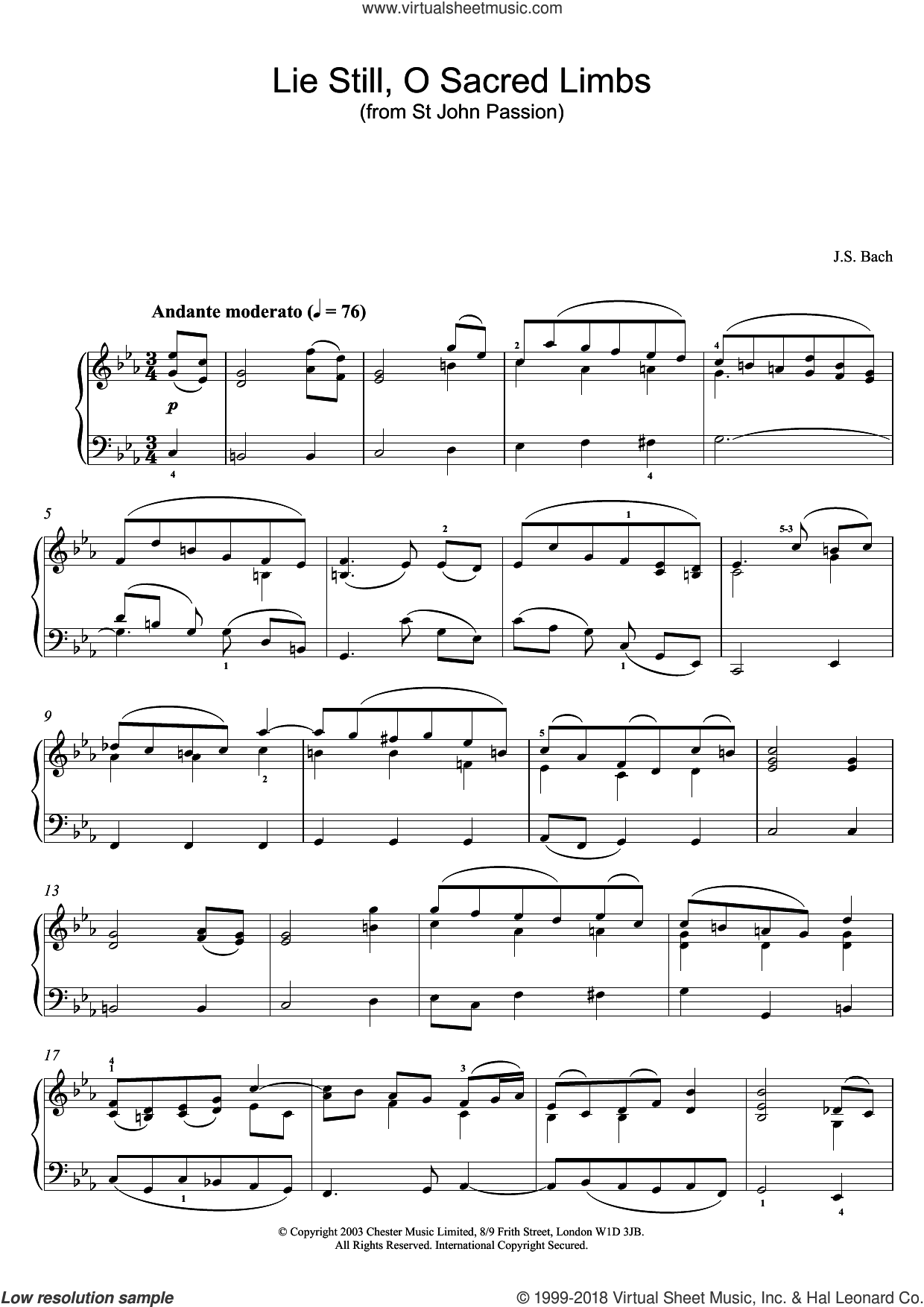 Lie Still, O Sacred Limbs (from St John Passion) sheet music for piano solo by Johann Sebastian Bach, classical score, intermediate skill level