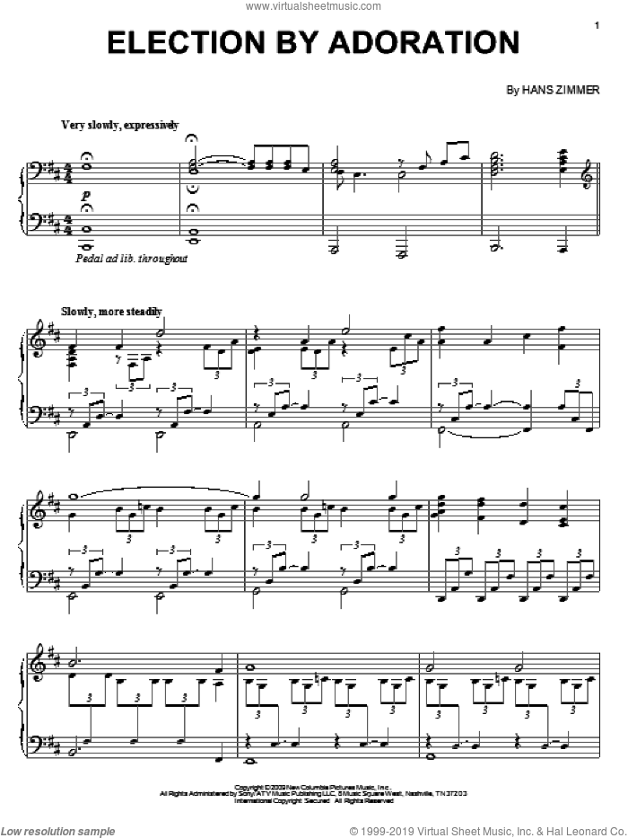 Election By Adoration sheet music for piano solo by Hans Zimmer and Angels & Demons (Movie), intermediate skill level