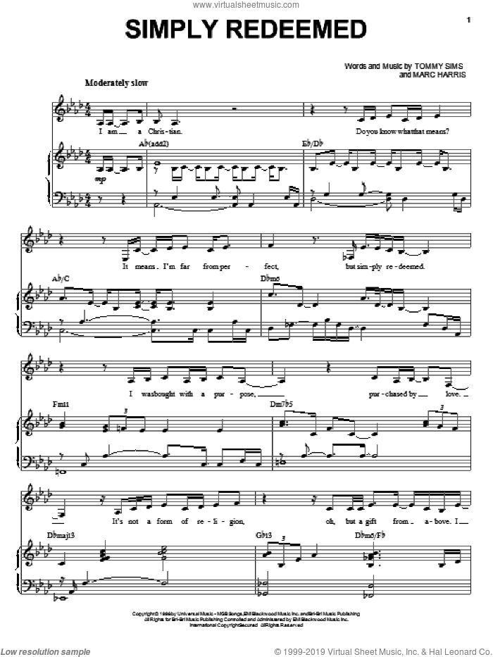 Simply Redeemed sheet music for voice, piano or guitar by Tommy Sims