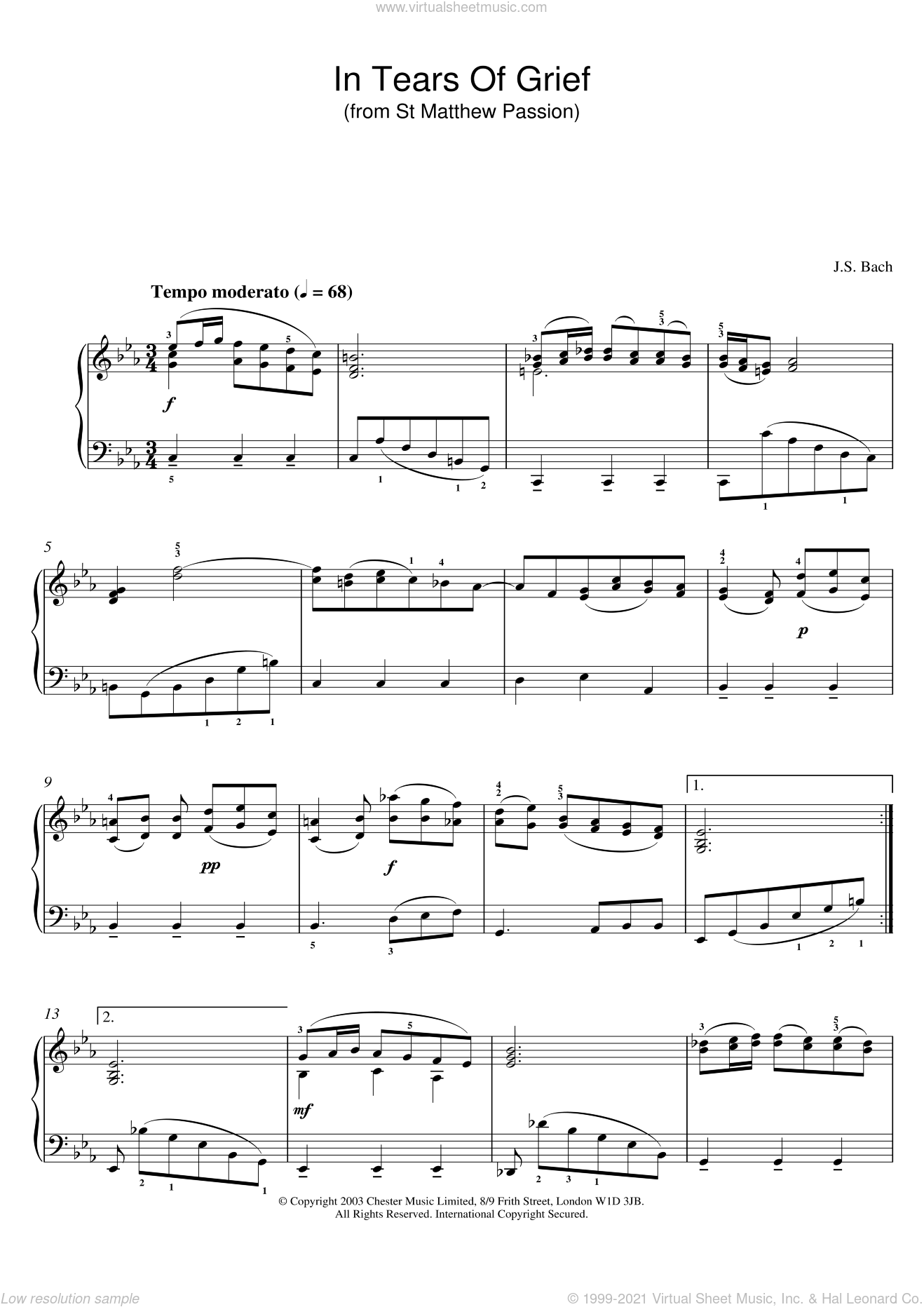 In Tears Of Grief (from St Matthew Passion) sheet music for piano solo by Johann Sebastian Bach. Score Image Preview.