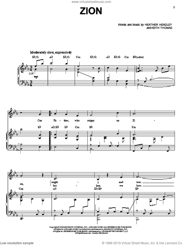 Zion sheet music for voice, piano or guitar by Heather Headley and Keith Thomas, intermediate skill level