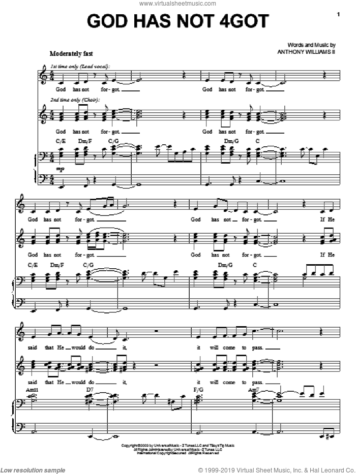 God Has Not 4Got sheet music for voice, piano or guitar by Anthony Williams. Score Image Preview.