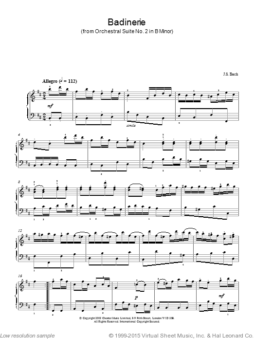 Badinerie (from Orchestral Suite No. 2 In B Minor) sheet music for piano solo by Johann Sebastian Bach