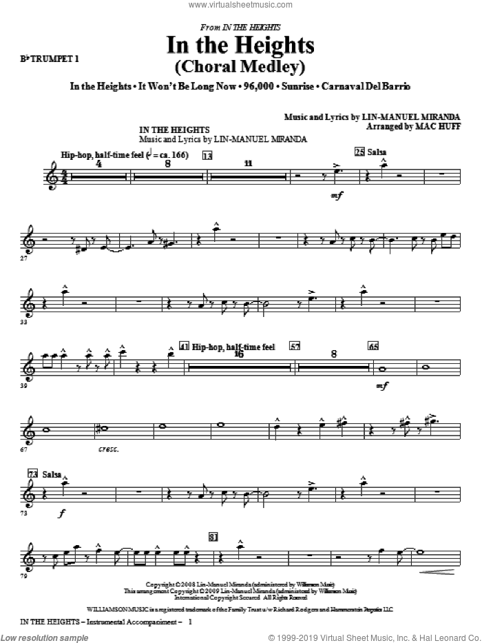 In The Heights (Choral Medley) (complete set of parts) sheet music for orchestra/band by Lin-Manuel Miranda and Mac Huff, intermediate skill level