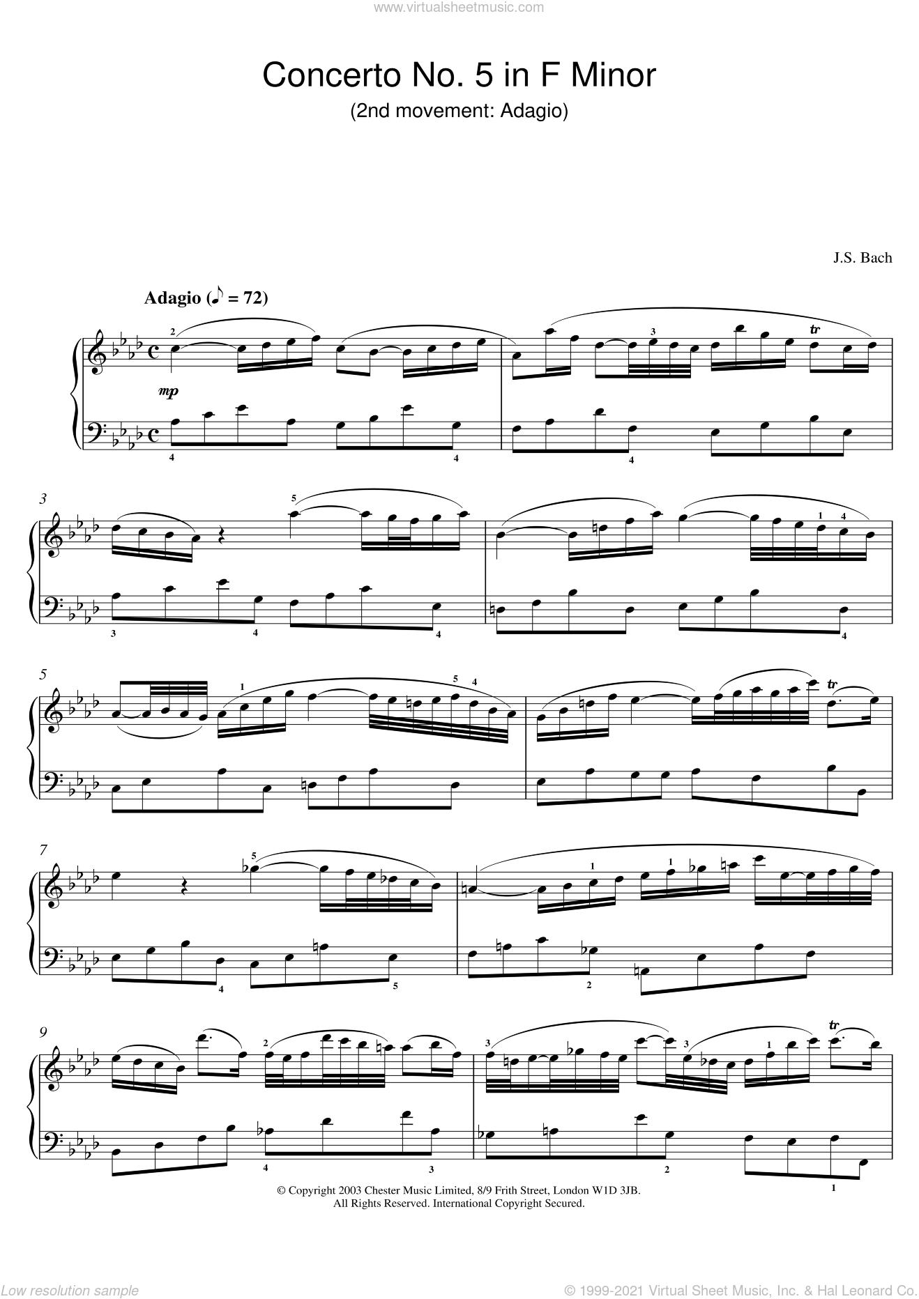 Piano Concerto No. 5 in F Minor (2nd movement: Adagio) sheet music for piano solo by Johann Sebastian Bach, classical score, intermediate skill level