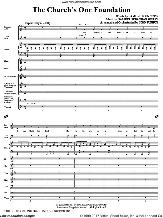 The Church's One Foundation (COMPLETE) sheet music for orchestra by Samuel John Stone