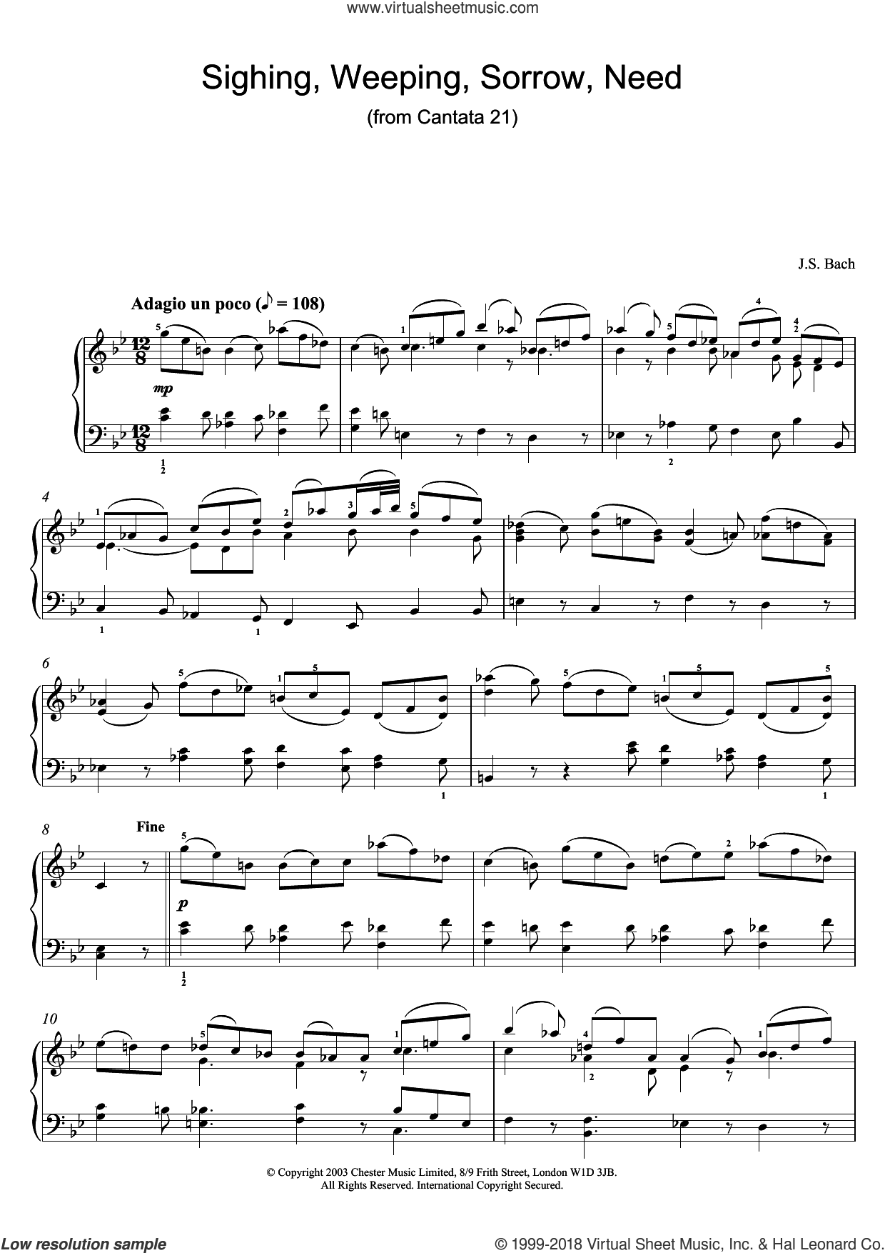 Sighing, Weeping, Sorrow, Need (from Cantata 21) sheet music for piano solo by Johann Sebastian Bach, classical score, intermediate piano. Score Image Preview.