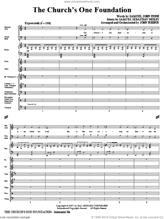 The Church's One Foundation (COMPLETE) sheet music for orchestra/band by Samuel Sebastian Wesley, Samuel John Stone and John Purifoy, intermediate. Score Image Preview.