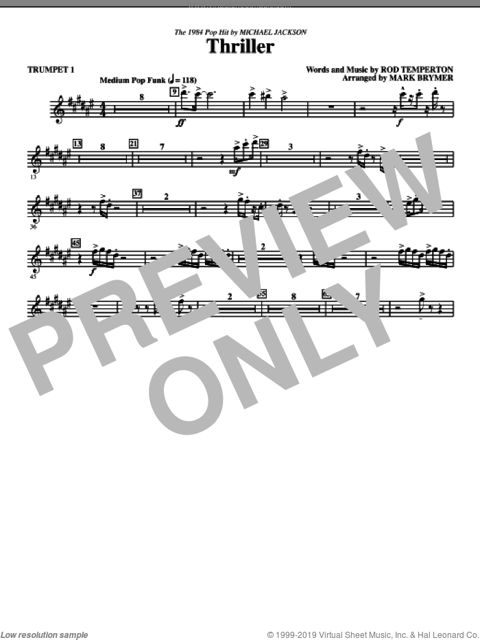 Thriller (complete set of parts) sheet music for orchestra/band by Rod Temperton, Mark Brymer and Michael Jackson, intermediate. Score Image Preview.