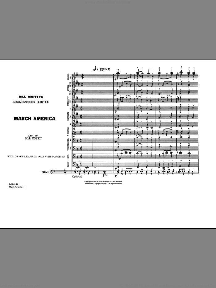 March America (COMPLETE) sheet music for marching band by Bill Moffit, intermediate skill level