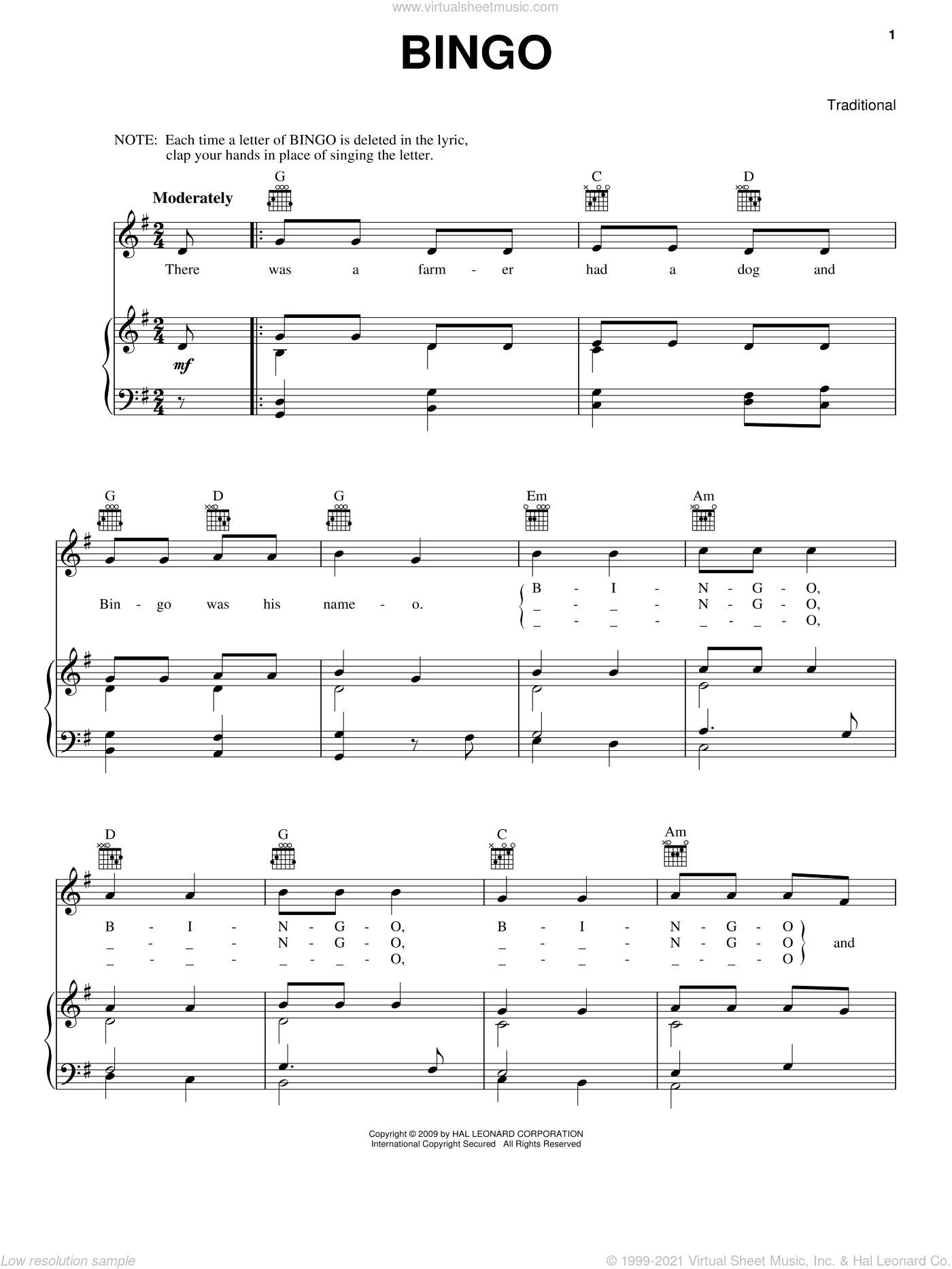 Bingo sheet music for voice, piano or guitar. Score Image Preview.