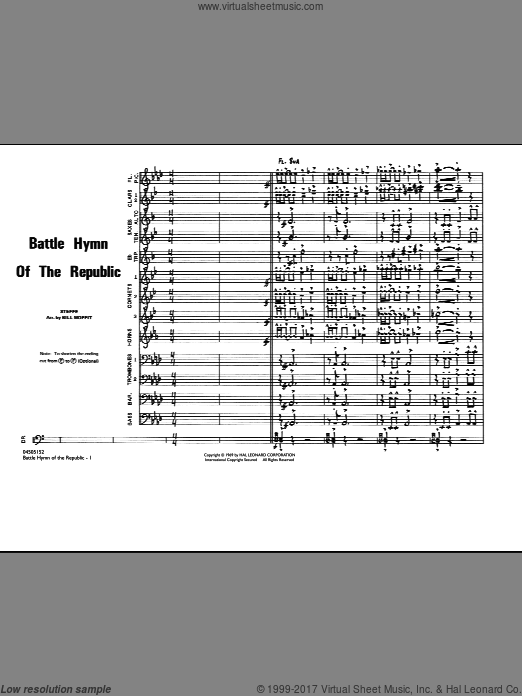 Battle Hymn Of The Republic (COMPLETE) sheet music for marching band by Julia Ward Howe