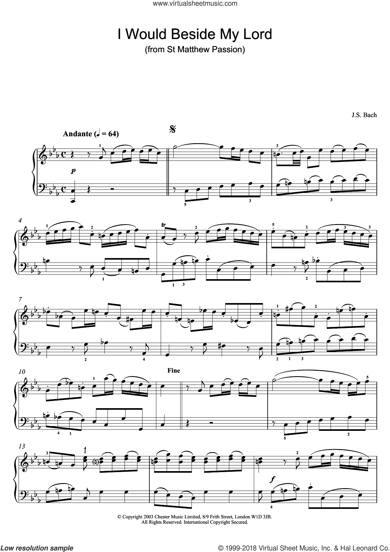 I Would Beside My Lord (from St Matthew Passion) sheet music for piano solo by Johann Sebastian Bach, classical score, intermediate skill level