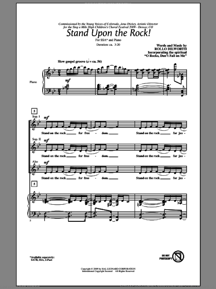 Stand Upon The Rock! sheet music for choir and piano (SSA) by Rollo Dilworth. Score Image Preview.