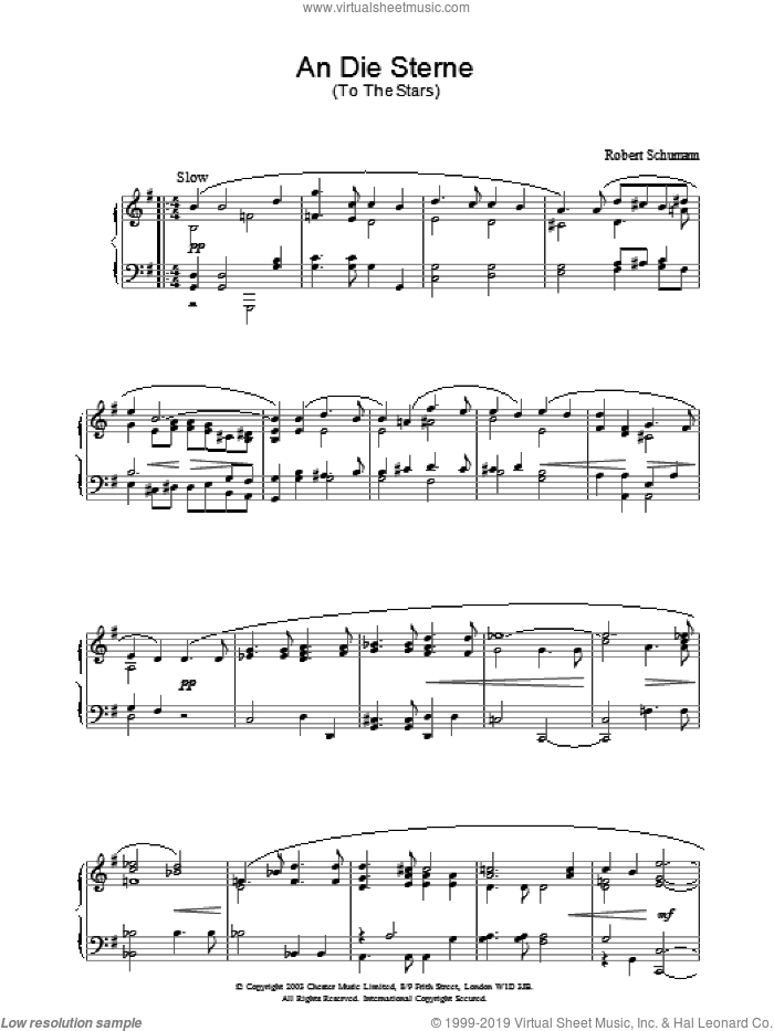 An Die Sterne sheet music for piano solo by Robert Schumann, classical score, intermediate. Score Image Preview.