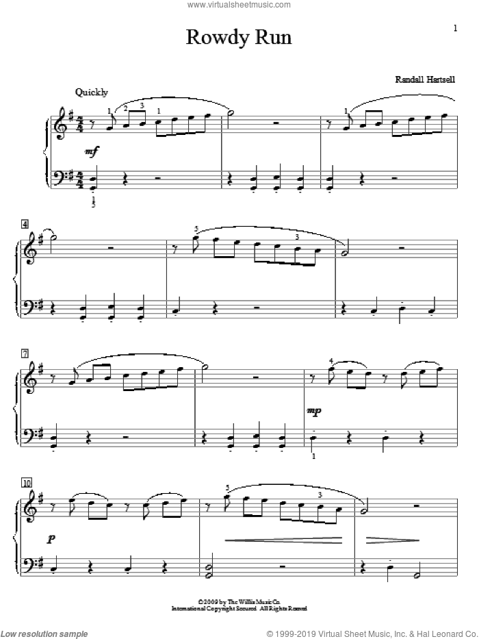 Rowdy Run sheet music for piano solo (elementary) by Randall Hartsell, classical score, beginner piano (elementary). Score Image Preview.