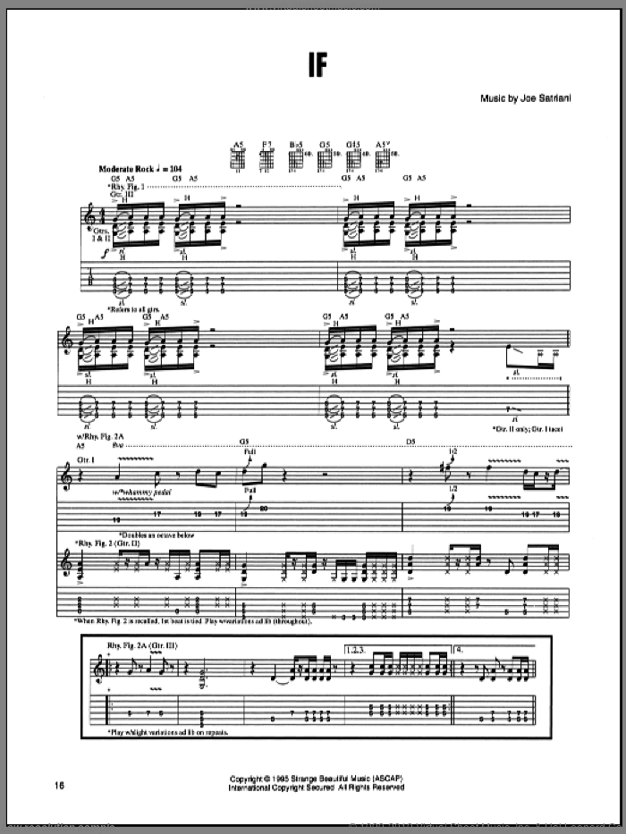 If sheet music for guitar (tablature) by Joe Satriani, intermediate guitar (tablature). Score Image Preview.