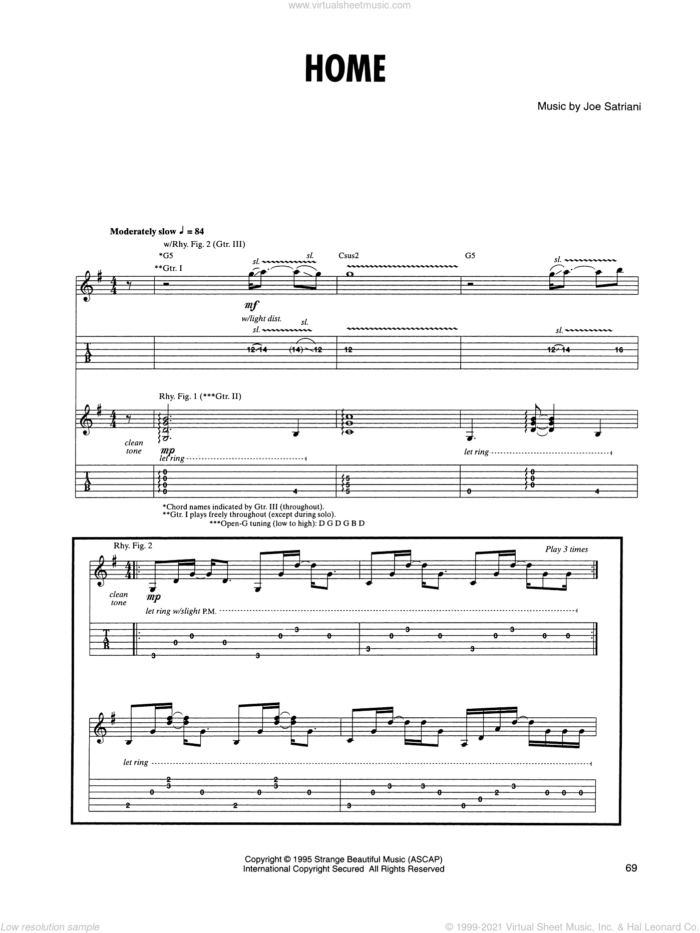 Home sheet music for guitar (tablature) by Joe Satriani. Score Image Preview.